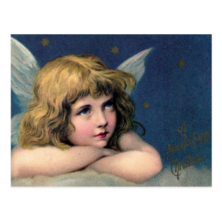 Vintage Christmas Angel and Gold Stars Postcard