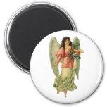 Vintage Christmas Angel, Angelic Victorian Die Cut 6 Cm Round Magnet