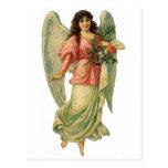 Vintage Christmas Angel, Angelic Victorian Die Cut Post Card
