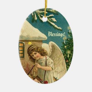 Vintage Christmas Angel Blowing Trumpet Ceramic Oval Decoration