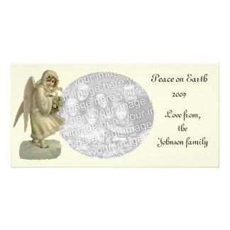 Vintage Christmas Angel Flowers, Victorian Die Cut Card