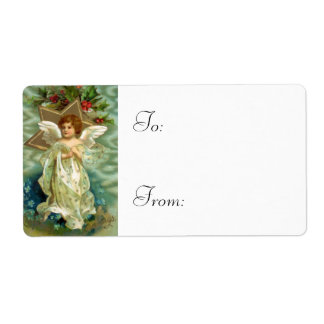 Vintage Christmas Angel Gift Tags Shipping Label