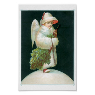 Vintage Christmas Angel Girl Poster