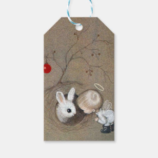 Vintage Christmas Angel Looking At Bunny Rabbit Gift Tags