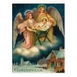 Vintage Christmas Angel Nativity Postcard