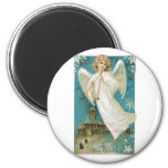 Vintage Christmas Angel playing Trumpet 6 Cm Round Magnet