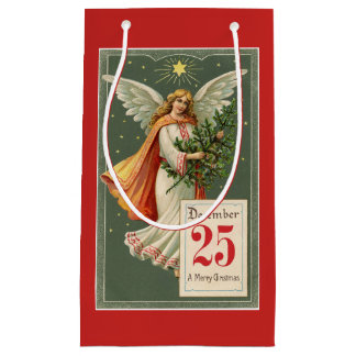 Vintage Christmas Angel Small Gift Bag