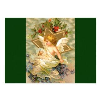 Vintage Christmas Angel Star Invitations