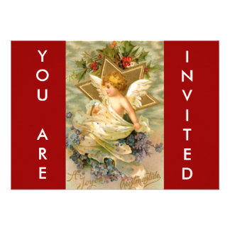 Vintage Christmas Angel Star Personalized Invites