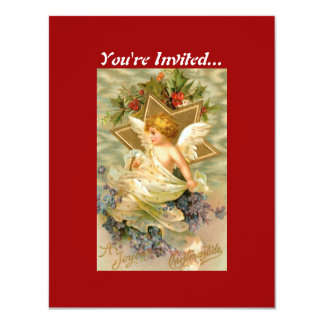 "Vintage Christmas Angel Star 4.25"" X 5.5"" Invitation Card"