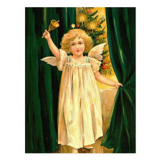 Vintage Christmas Angel With Bell Postcard