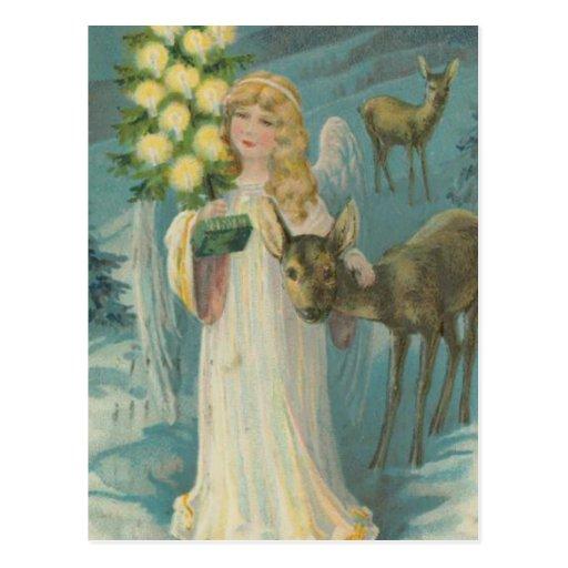 Vintage Christmas Angel with Deer Post Cards
