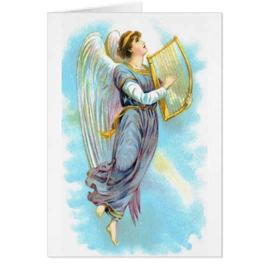 Vintage Christmas Angel with Harp Card