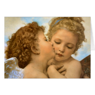 Vintage Christmas Angels, First Kiss by Bouguereau Greeting Card