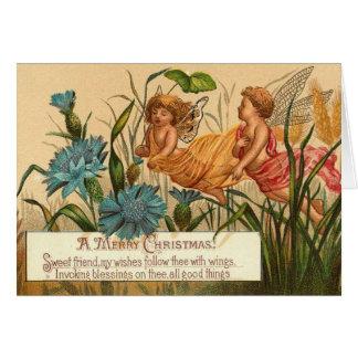 Vintage Christmas Angels - Friend Greeting Card