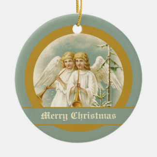 Vintage Christmas angels with bugles ornaments