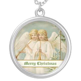 Vintage Christmas angels with bugles Round Pendant Necklace