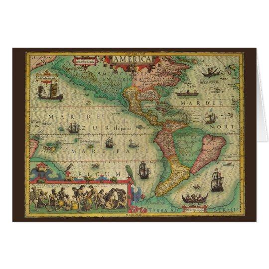 Vintage Christmas, Antique Old World Map Card