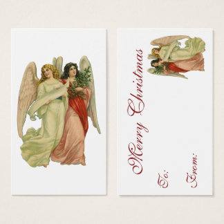 Vintage Christmas, Antique Victorian Angel Die Cut Business Card