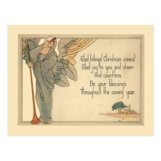 Vintage Christmas, Art Deco Angel Postcard