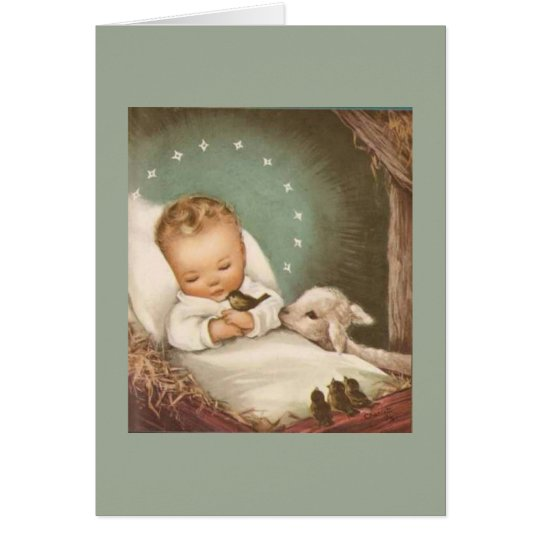 Vintage Christmas Baby With Lamb Card