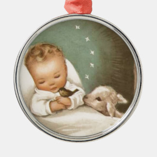Vintage Christmas Baby With Lamb Silver-Colored Round Decoration