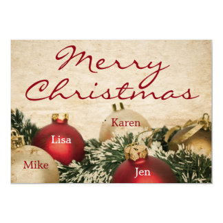 Vintage Christmas background 13 Cm X 18 Cm Invitation Card