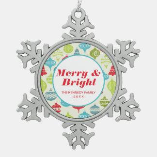 Vintage Christmas Background Snowflake Pewter Christmas Ornament