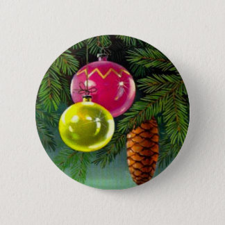 VIntage Christmas, Baubles and Pine Cones 6 Cm Round Badge