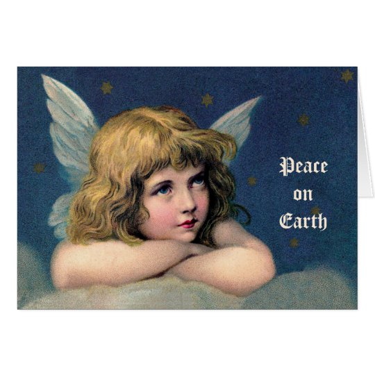 Vintage Christmas, Beautiful Angel with Gold Stars Card