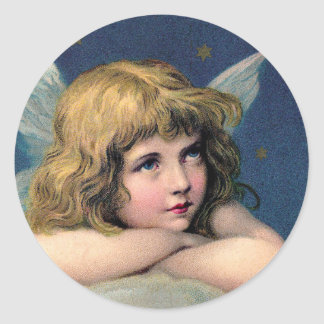 Vintage Christmas, Beautiful Angel with Gold Stars Classic Round Sticker