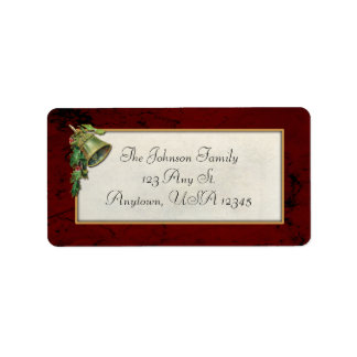 Vintage Christmas Bell and Holly Label