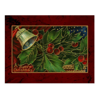 Vintage Christmas Bell and Holly Postcard