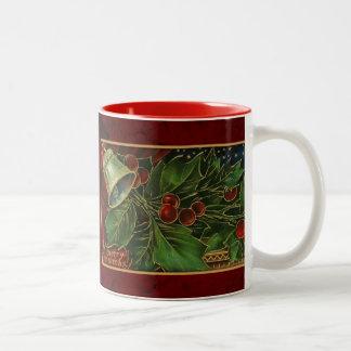 Vintage Christmas Bell and Holly Two-Tone Coffee Mug