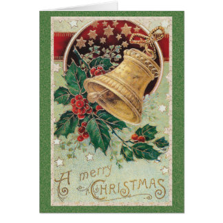 Vintage Christmas Bell Merry Christmas Card
