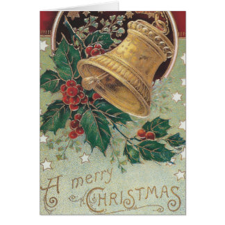 Vintage Christmas Bell with Holly Card