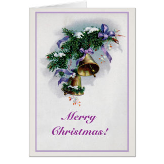 Vintage Christmas bells and decoration Card