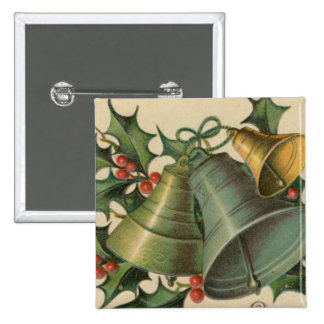 Vintage Christmas Bells and Holly 15 Cm Square Badge