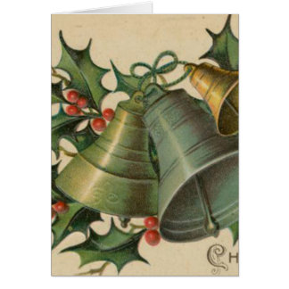 Vintage Christmas Bells and Holly Card