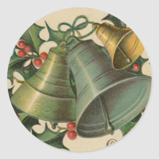 Vintage Christmas Bells and Holly Classic Round Sticker