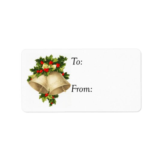 Vintage Christmas Bells and Holly Gift Tag Address Label