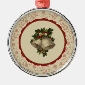 Vintage Christmas Bells and Holly Ornament
