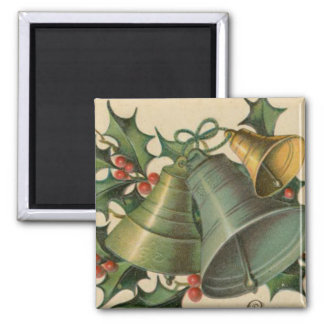 Vintage Christmas Bells and Holly Square Magnet