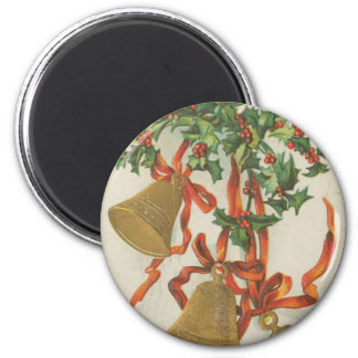Vintage Christmas Bells and Ribbons 6 Cm Round Magnet