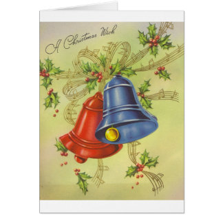 Vintage Christmas Bells Greeting Card