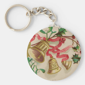 Vintage Christmas Bells, Ribbons and Holly Basic Round Button Key Ring