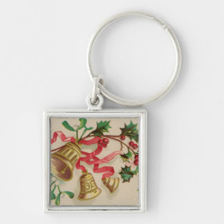 Vintage Christmas Bells, Ribbons and Holly Silver-Colored Square Key Ring