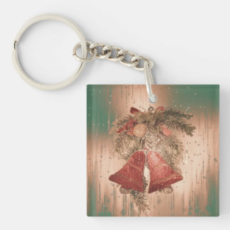 vintage christmas bells square acrylic keychains