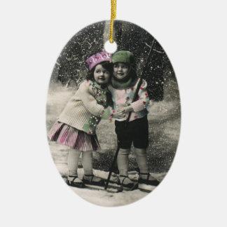 Vintage Christmas, Best Friends on Skis Ceramic Oval Decoration