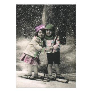 Vintage Christmas Best Friends on Skis Custom Invitation